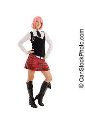 schoolgirl, rose haren, mooi en gracieus