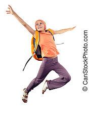 schoolgirl, rucksack, springende , glücklich