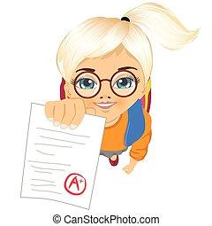 schoolgirl showing her test paper