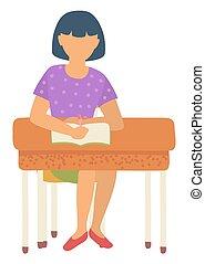 Schoolgirl Sitting by Desk Writing in Notebook - Girl...