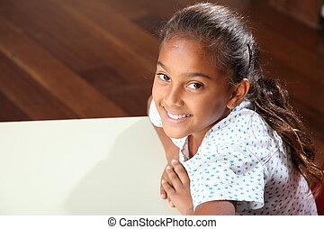schoolgirl, sorrizo, encantador