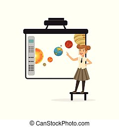 Schoolgirl standing in front of an interactive whiteboard, astronomy lesson at school vector Illustration on a white background