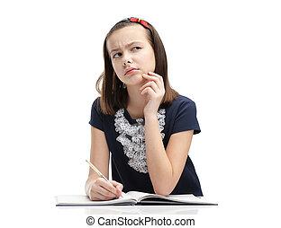 Schoolgirl thinks over