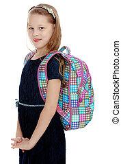 Schoolgirl with a satchel on his shoulders.