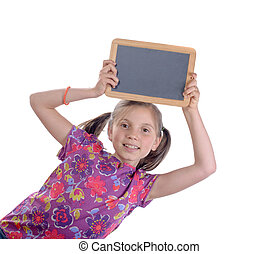 Schoolgirl with a slate on the head
