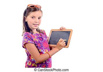 schoolgirl with a slate
