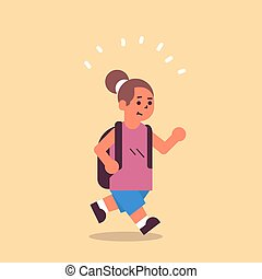 schoolgirl with backpack running back to school education...