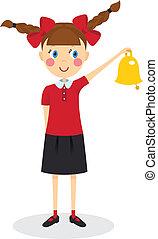 Schoolgirl with bell