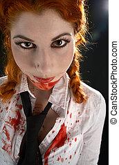 schoolgirl with blood all over - portrait of schoolgirl with...