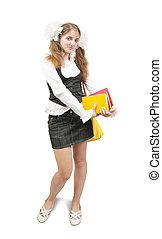schoolgirl with books and schoolbag, isolated over white