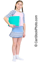 Schoolgirl with books on a white background