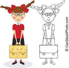 Schoolgirl with briefcase. Color and contour illustration