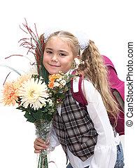 Schoolgirl with flowers - Portrait of pretty schoolgirl with...