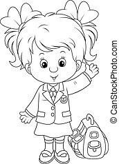 Schoolgirl with her schoolbag