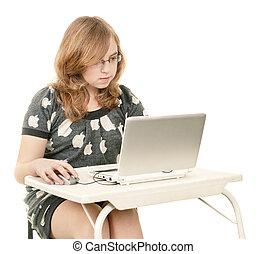 Schoolgirl with laptop
