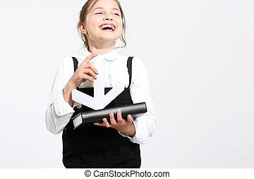 Schoolgirl with notebook.