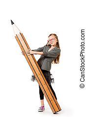 schoolgirl with pencil