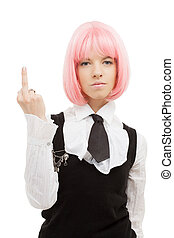 schoolgirl with pink hair showing middle finger - picture of...