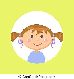Schoolgirl with Pony Tails, Child or Girl Avatar