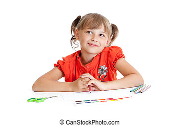 Schoolgirl with red pencil isolated