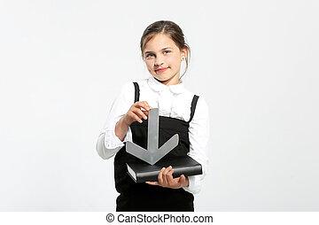 Schoolgirl with textbook.