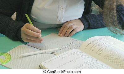 Schoolgirl writes in her copybook at the lesson - Schoolgirl...