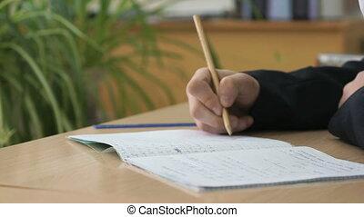 Schoolgirl writes text in notebook using pencil - Schoolgirl...