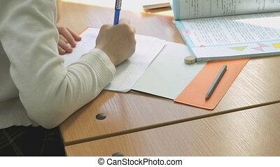 Schoolgirl writes the text in a copybook using pen - The...