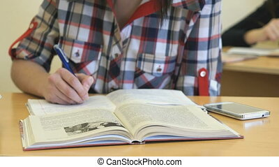 Schoolgirl writes the text in the copybook - The schoolgirl...