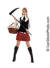 schoolgirl, zangado, pretas, foice