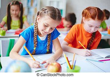 schoolgirls, em, desenho, lição