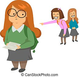 Schoolgirls laughing and pointing at obese girl in green...