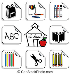 Eight schoolhouse stickers for back to school, scrapbooks, preschool, daycare, arts, crafts, literacy projects. Backpack, colored pencils, book, markers, crayons, scissors. ABC, apple for the teacher, isolated on white background. EPS8 compatible.