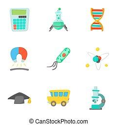 Schooling icons set, cartoon style