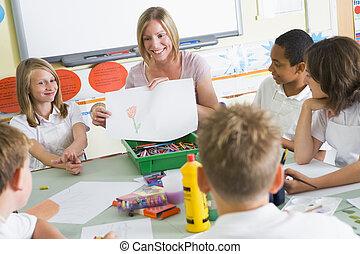 schooljeugd, en, hun, leraar, in, een, kunst brengen onder