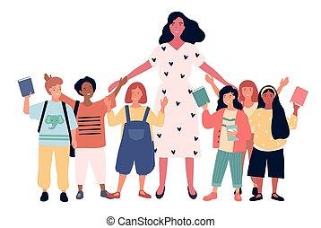 schooljeugd, multiethnic, blij, groep