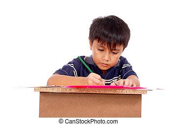 schooljongen, het concentreren