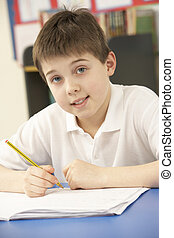 schooljongen, in, de klasse van it, het gebruiken computer
