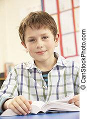 schooljongen, studerend , schoolboek, in, klaslokaal