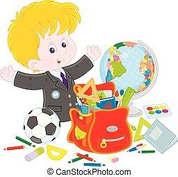 schooljongen, weinig; niet zo(veel), zijn, vervolledigen, schooltas