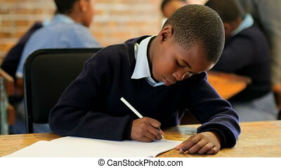 Schoolkid studying in the classroom 4k - Schoolkid studying ...