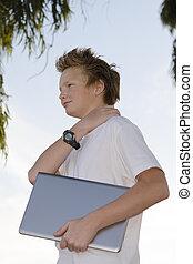 Schoolkid with notebook