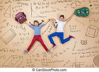 schoolkids, deux, apprentissage