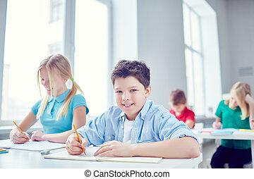 schoolkids, em, lição