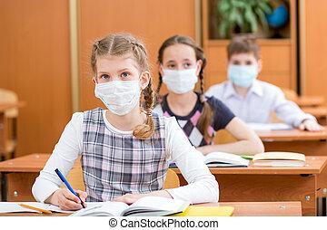 schoolkids, grippe, maske, gegen, virus- schutz, lektion