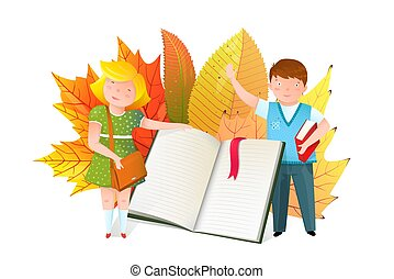 Schoolkids with open book flat vector illustration - Kids...