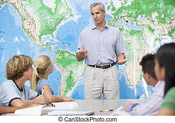 schoolklas, hoog, hun, leraar, kinderen