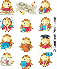 schoolmeisjes, iconen