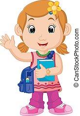 schoolmeisjes, wandelende, spotprent