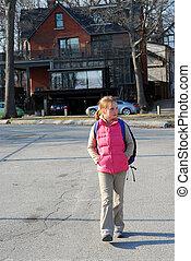 schoolmeisjes, wandeling